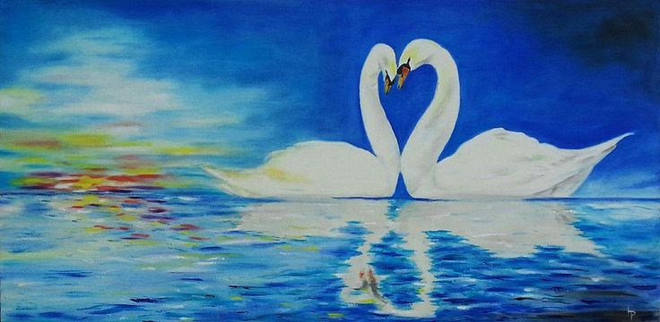Swans. Oil on canvas. Size :100 x 50 cm.
