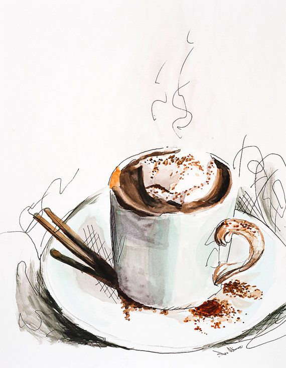 Watercolor and Ink Painting, Morning Coffee art print, original watercolor and Ink illustration print.