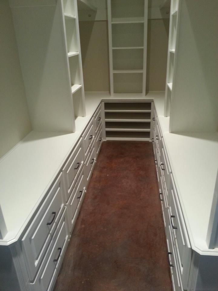 This closet is long & narrow like ours.  deep and narrow drawers in part of the wardrobe would be great