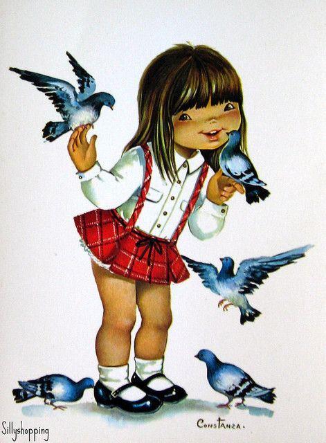 Vintage Big Eyed Kidz Postcard ~ by Constanza