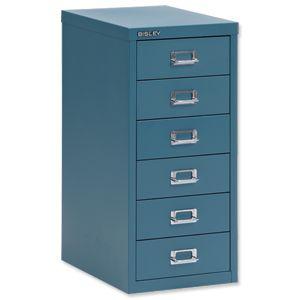 Product 101231, Description: Bisley SoHo Multidrawer Cabinet 6-Drawer H590mm Doulton Blue