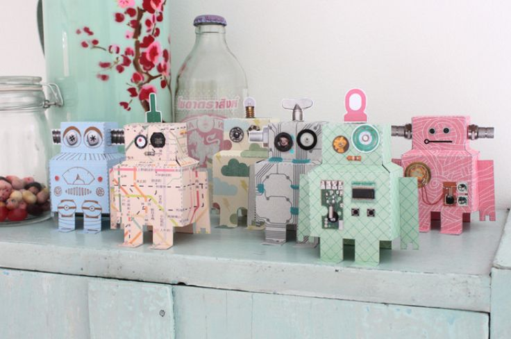Studio Ditte's favorite robots from the Robot wallpaper come to life.