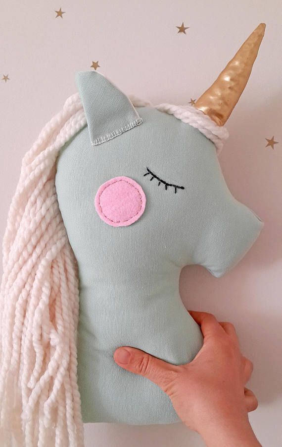 Peluche unicornio peluche cojín almohada menta vivero