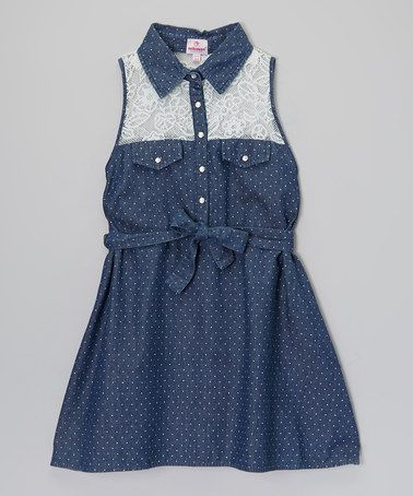 Another great find on #zulily! Blue Polka Dot Lace Denim Dress - Toddler & Girls by Dollhouse #zulilyfinds