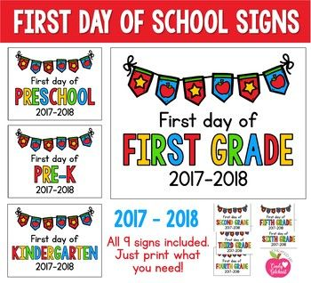 "Updated for the 2017 - 2018 school year! I've updated my ""First Day of _______ Grade"" this year and have included Preschool, Pre-K, Kindergarten, First Grade, Second Grade, Third Grade, Fourth Grade and Fifth Grade! Have a GREAT School Year!!! END of the Year"