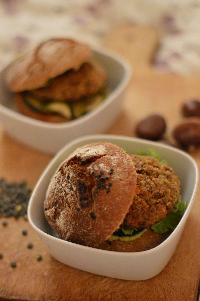 vegan burger, soaked lentils, chestnuts