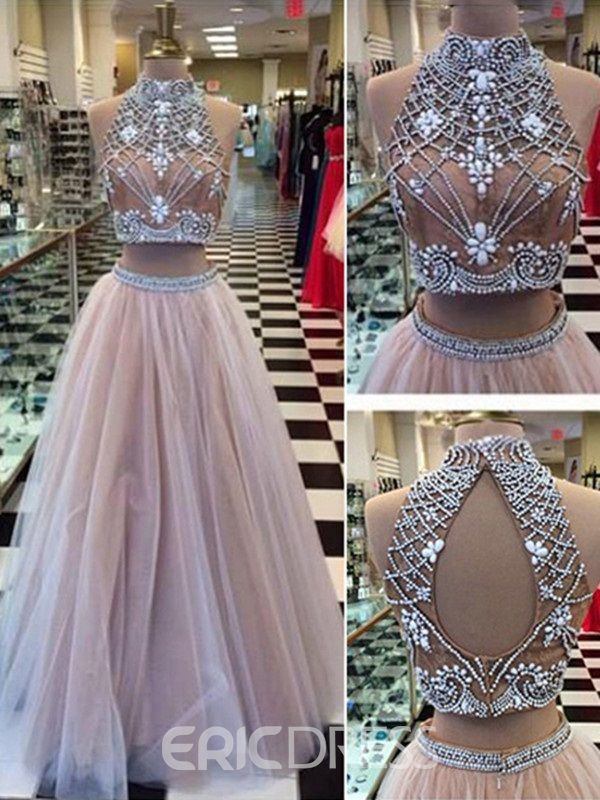 A-Line Two Pieces Backless Long Prom Dress With Beadings