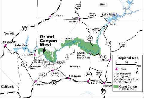 Map showing the location of Grand Canyon West in relation to Grand Canyon National Park.