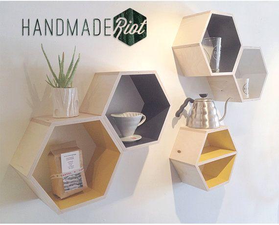 Set of Five Hexagon shelves for Him by HandmadeRiot on Etsy,  Reggie's trees?