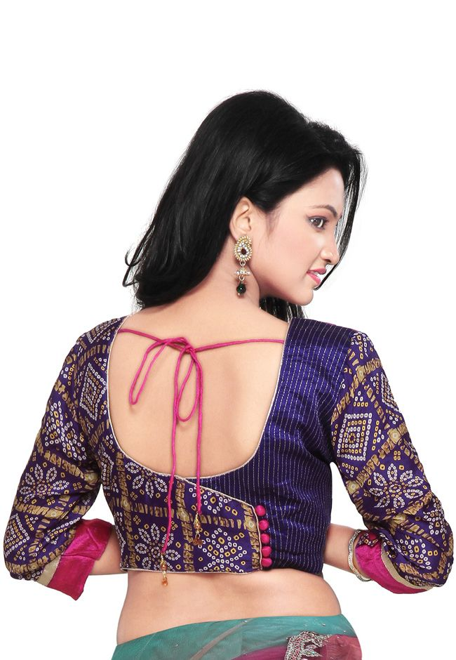 Rani and Purple Pure Raw Silk and Faux Crepe Bandhej Blouse: UJN349