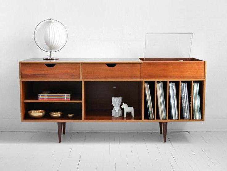 Vintage Swedish Teak Record Cabinet - Mid Century, Credenza, Wood, Bu…