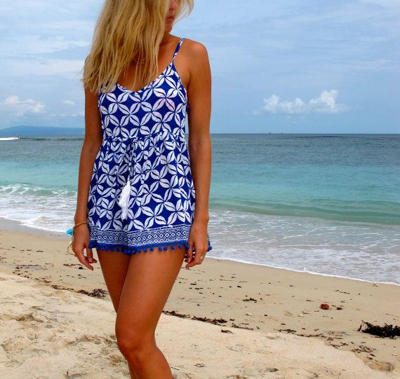 Pom Pom Jumpsuit / Playsuit, Short Beach Dress, Cobalt Blue Coffee Bean Print Skort Shorts on Etsy, $39.00