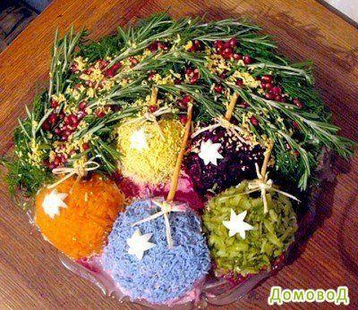 Идеи для украшения салатов на Новый год