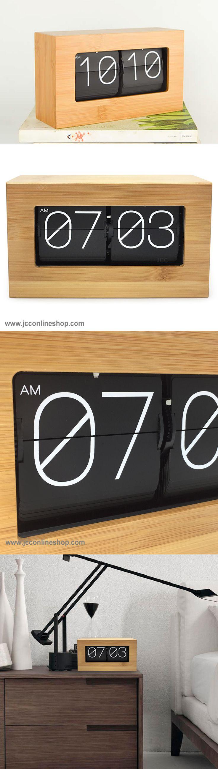 JCC Bamboo Large Number Retro Auto Flip Down Desk Wall clock  www.jcconlineshop.com  #jcc #flip #clock #classic #bamboo #retro #time #home