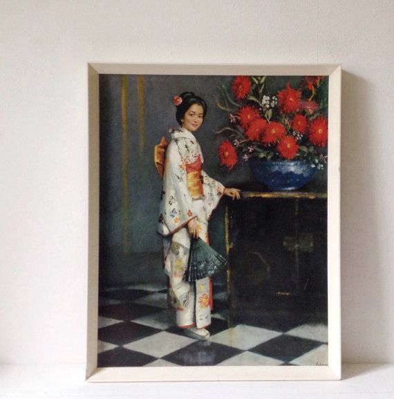 Vintage Geisha art print from the 1960s mid century by VelvetEra