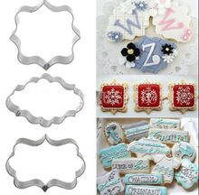 3Pcs Plaque Cutter Cookies Frame Cake Oval Square Rectangle Fancy Cookie Mold New(China (Mainland))