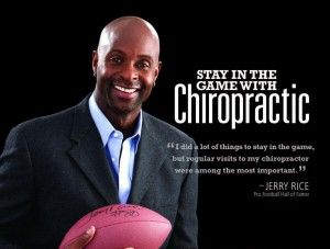Charleston Chiropractic Care | Jerry Rice Supporter of Chiropractic Care, former American football wide receiver Jerry Rice served as the keynote speaker at the annual homecoming of Palmer College of Chiropractic, West Campus in San Jose, Calif., on May 3, 2014.