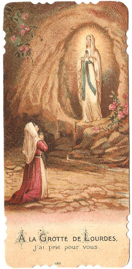 Our Lady of Lourdes in Grotto Antique French by VintagePaperAttic
