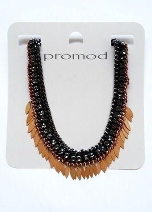 Kup mój przedmiot na #vintedpl http://www.vinted.pl/akcesoria/bizuteria/10590476-nowy-metka-promod-kolia-naszyjnik-liscie-zloty-choker-kamienie-czarne-srebro