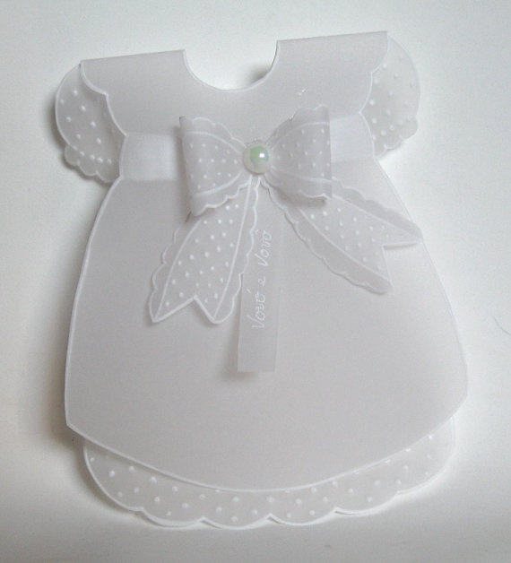 Christening invitation Little Dress with tie by WangoArt on Etsy, $5.00