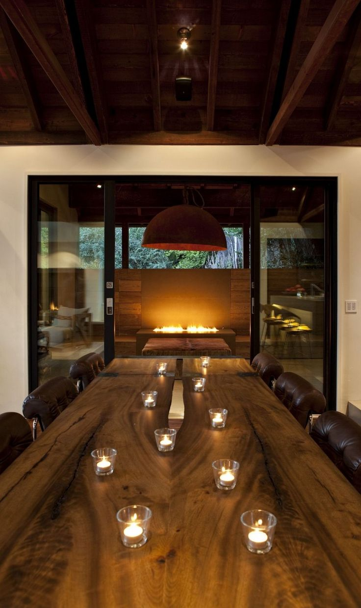 Wooden Dining Table At Contemporary Hillside House Nestled On The Hills Of  Mill Valley California By SB Architects. Contemporary Hillside House  Nestled On ...