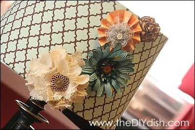 how to cover a lamp shade using fabric glue, tacky spray, packing paper, & an iron
