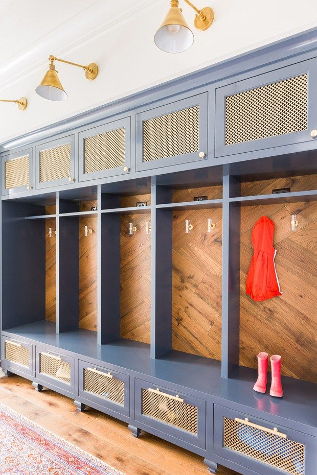 Colorful mud room with built in storage, designed by Laura Burleson, via @sarahsarna.