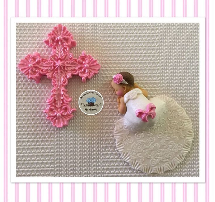 Pink Cross & Baby Girl In Gown Christening Cake Topper. Decoration. Baptism  | eBay