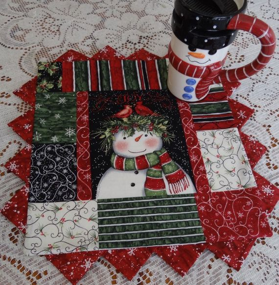 Candle Mat/Coffee Mug Rug  Victorian Christmas Snowman by VicSews, $12.99