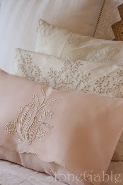 shabby lace pillows | This DIY Stencilled Pillow from 36th Avenue is adorable! I love the ...