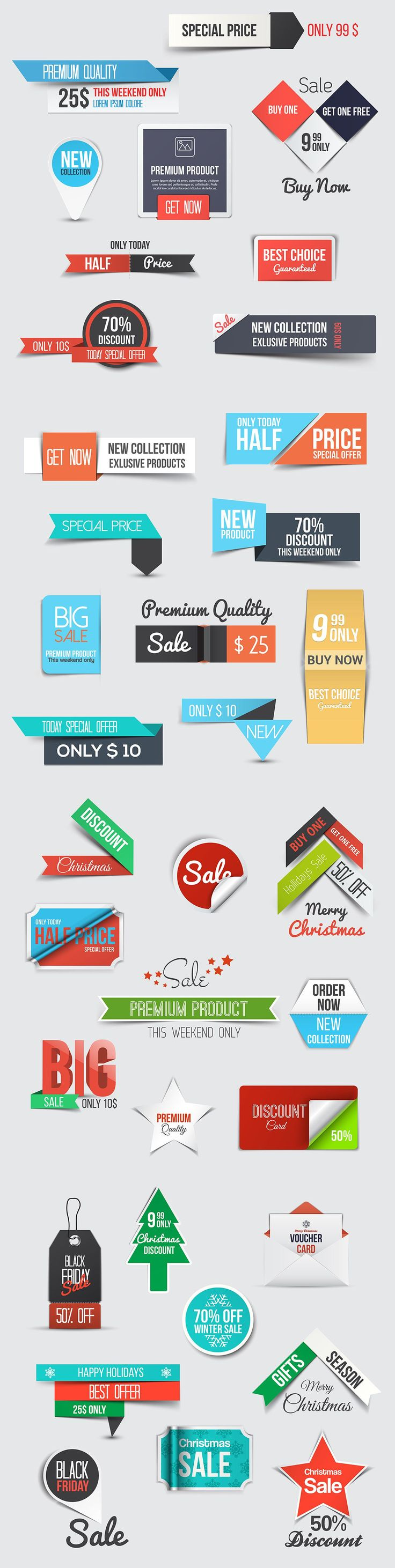 Collection of Sale Discount Styled Banners Download. #Vector #graphics #design #banners