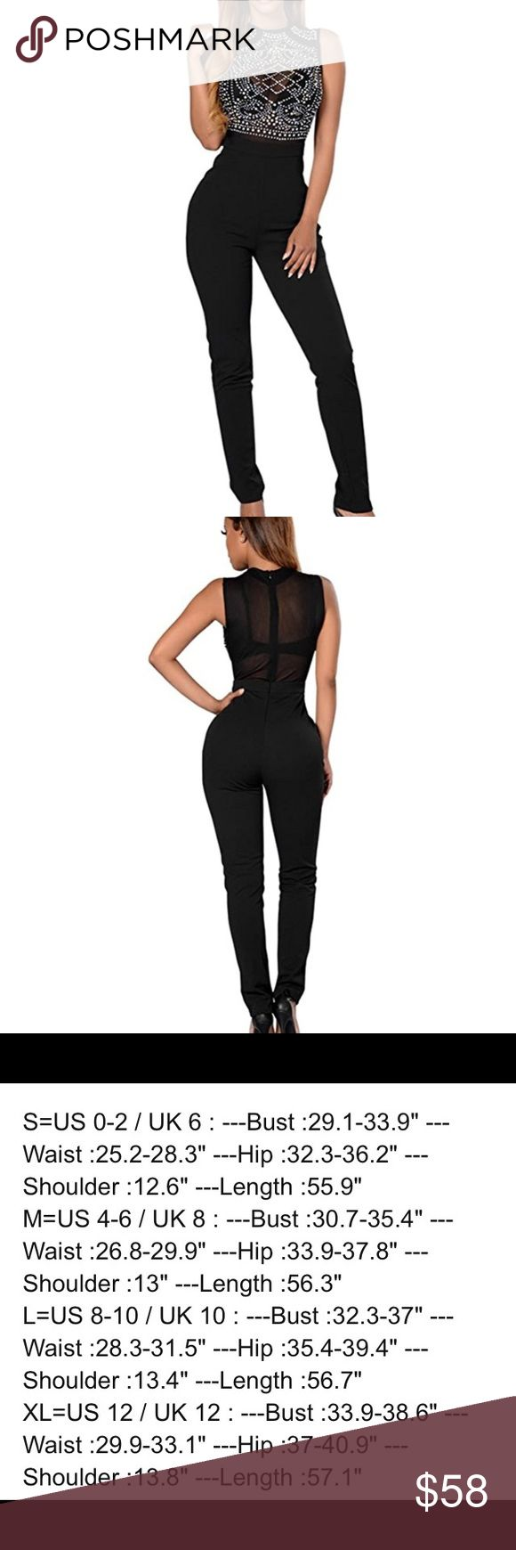 🆕Women's Sleeveless Rhinestone Mesh Jumpsuit Made of quality spandex, polyeaster, soft and comfortable Size: there are 4 sizes for your choose: S=0/2, M=4/6, L=8/10, XL=12, Pants Jumpsuits & Rompers