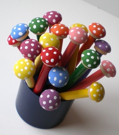 Toadstool Pencils~  You could make these using clay...great homemade stocking stuffer