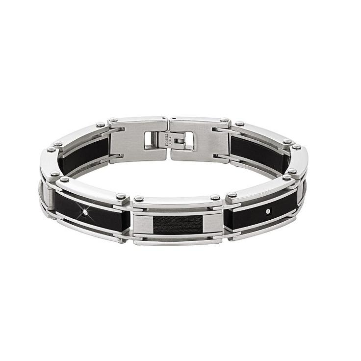 A Flash Of Steel Men S Diamond Bracelet The Danbury Mint