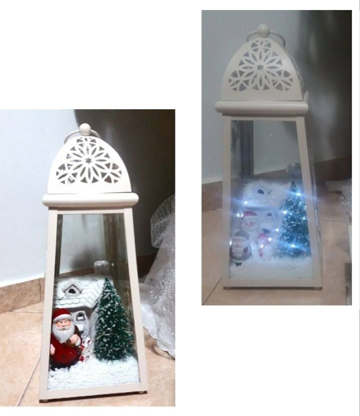 DIY - White Christmas Lantern Decoration with battery operating lights.