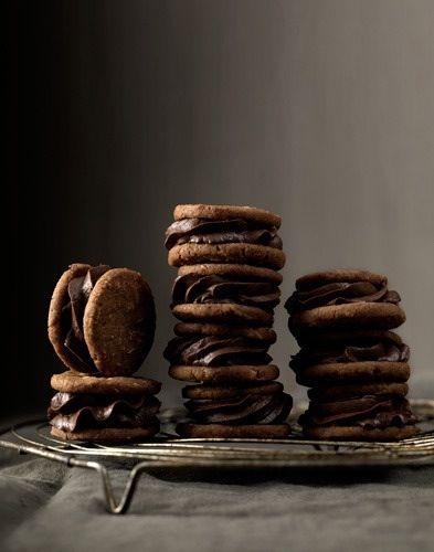 Chocolate ganache biscuit sandwiches