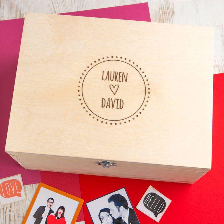 Cute Couple's Names Personalised Engraved Keepsake Box