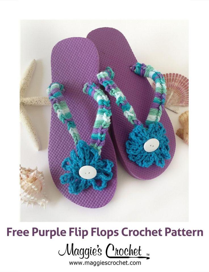 Home Cotton Purple Flip Flop Free Crochet Pattern