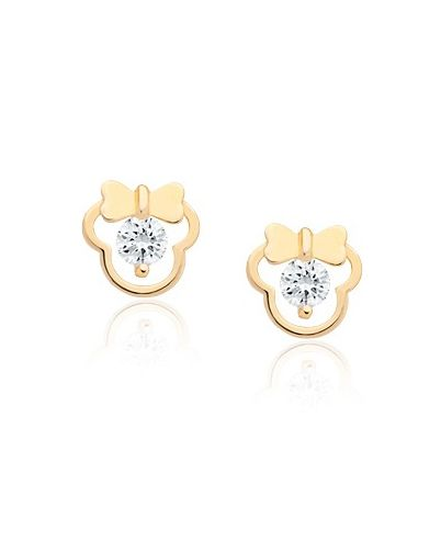 girl mouse with bow earrings clear cz screw back 14k. Black Bedroom Furniture Sets. Home Design Ideas