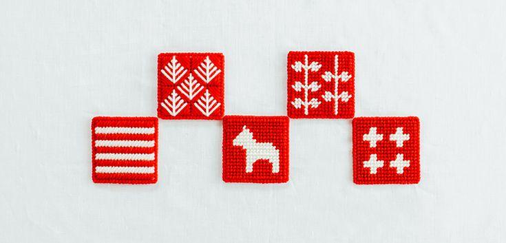 北欧柄のキャンバスコースター   編み物キット販売・編み方ワークショップ イトコバコ