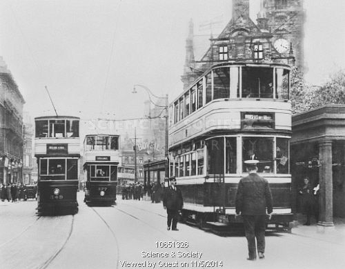 Double Deck Trams on Pinstone Street. Sheffield, South Yorkshire, c1927