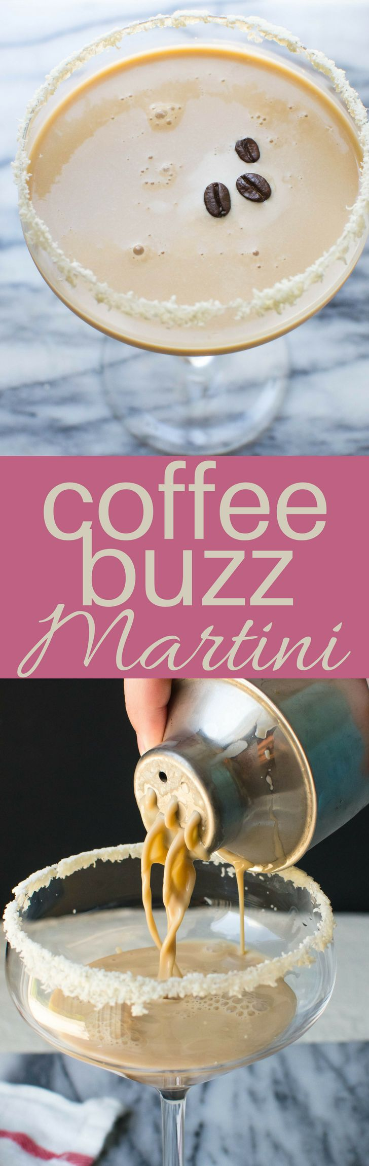 This easy Coffee Buzz Martini recipe is a cross between cocktails & dessert! Kahlua, Irish cream, vodka, coffee simple syrup & half and half, shaken with ice
