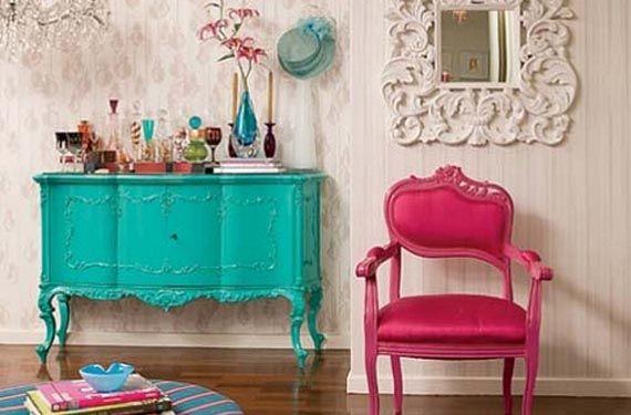 muebles reciclados de colores Muebles reciclados en tonos intensos