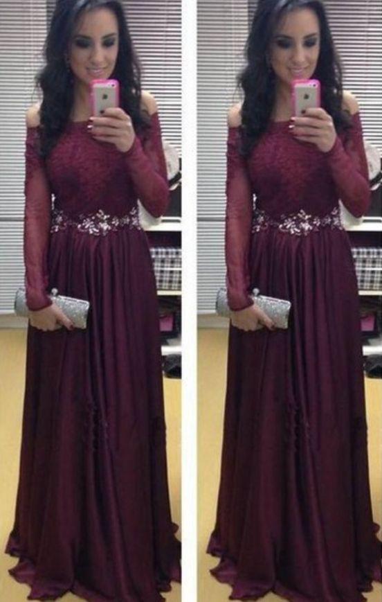 Neue Ankunft Langarm bodenlangen charmante Prom Kleider, A-Line   – anne1989-prom dresses