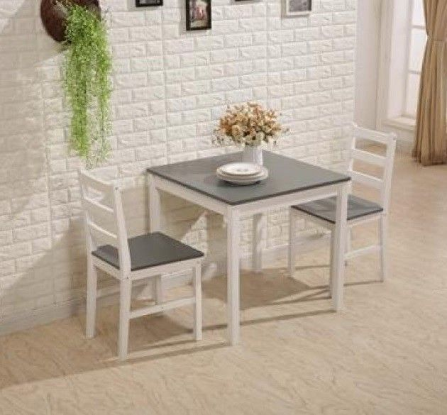 Small Kitchen Table And 2 Chairs Home Dining Room Set Furniture Pine Wood Grey Small Kitchen Tables Grey Kitchen Table Grey Kitchen