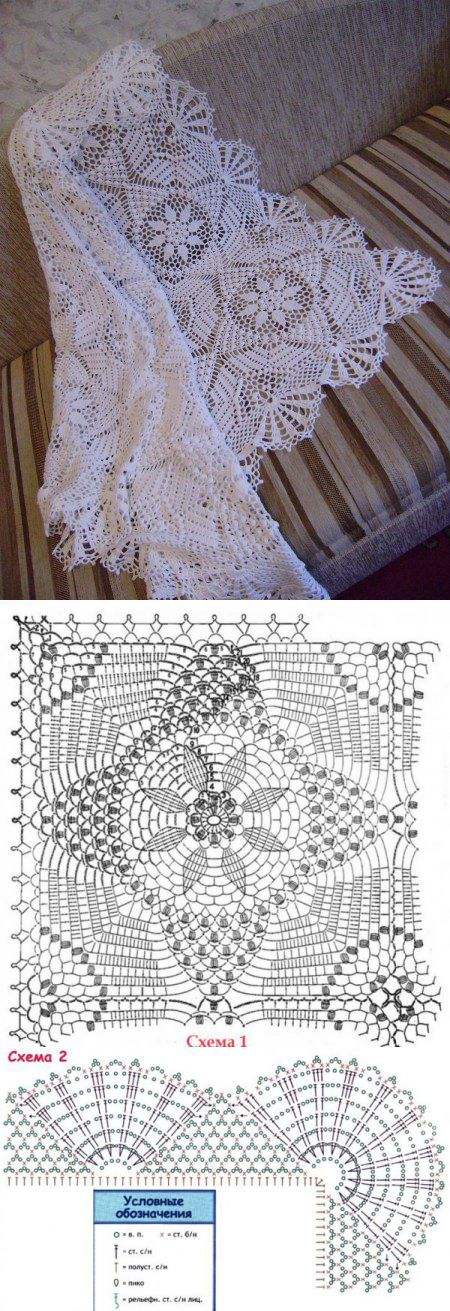 Схема вязания ажурного покрывала. Вяжем крючком покрывало | Laboratory househo | вязание | Постила