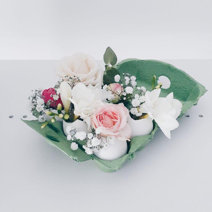 DIY flower arrangement with eggshells - Easy Peasy Easter vibes