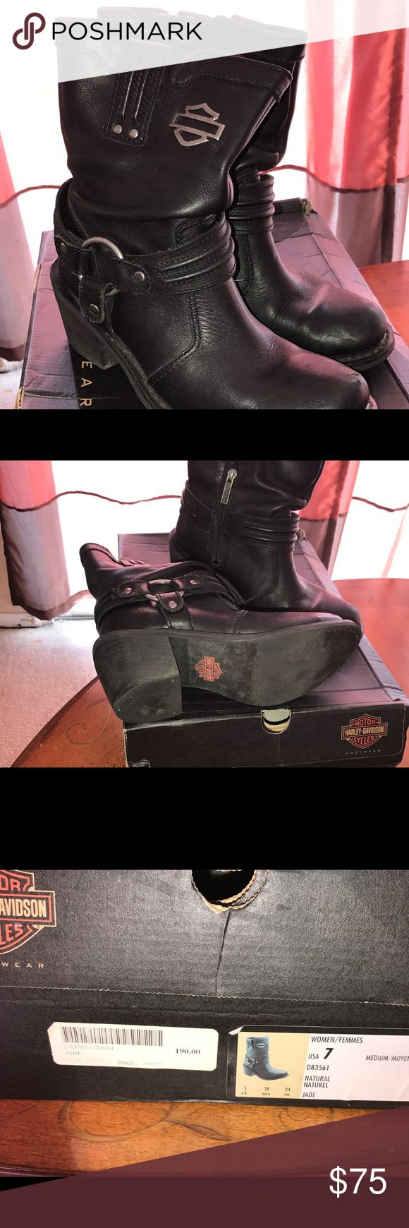 Women's Harley Davidson boots Women's Harley Davidson leather riding boots size 7.  Light wear markings.  Great fit. Harley-Davidson Shoes Combat & Moto Boots