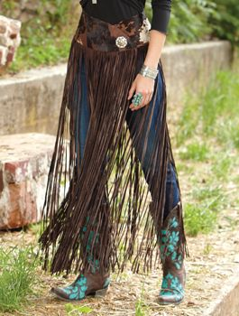 Long Leather Fringe Belt/Overskirt from Crows Nest Trading – I would love to pair this with a bright-colored broomstick skirt, a beaded top or jacket, and some silver and turquoise jewelry!