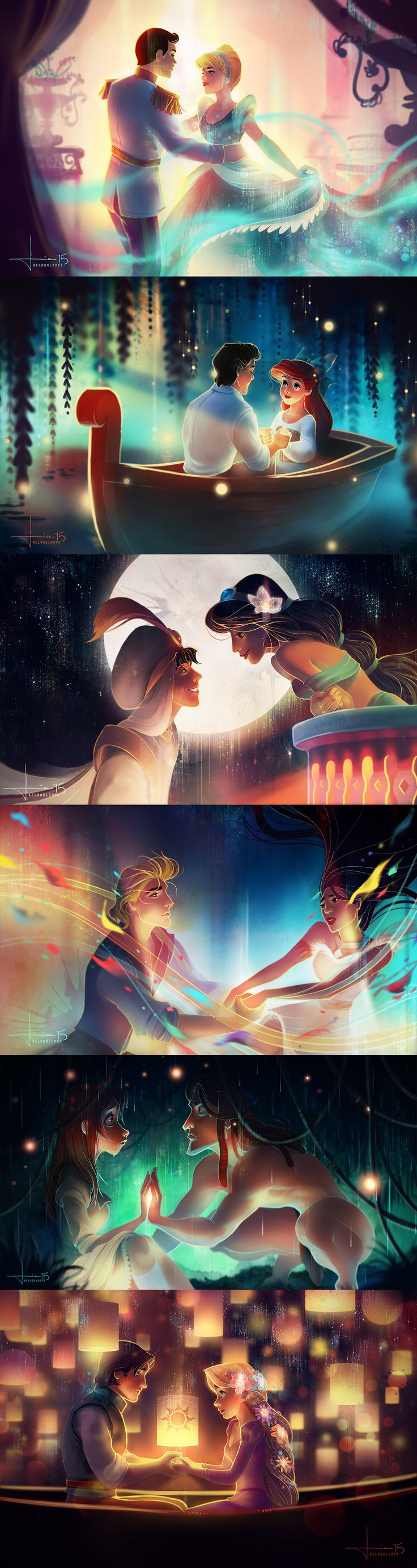 "Cinderella (A Dream is a Wish (but really it's So This is Love)), Eric and Ariel (The Little Mermaid: Part of Your World/ Kiss the Girl), Aladdin and Jasmine (A Whole New World), John and Pocahontas (Colours of the Wind), Jane and Tarzan (Two Worlds), Flynn Rider / Eugene and Rapunzel (Tangled: I See the Light) by Australian Artist ""kelogsloops"" on Deviant Art."